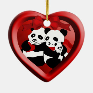 Panda Couple  and Baby Christmas Heart Ornament