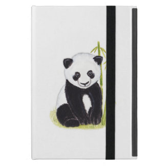 Panda cub and bamboo tree watercolor paintings cover for iPad mini