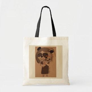 Panda cuddles tote bag