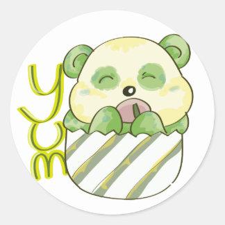 Panda Eating Bambo Round Sticker