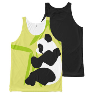 Panda Eating Bamboo All-Over Print Singlet