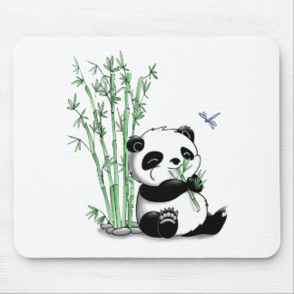 Panda Eating Bamboo Mouse Pad