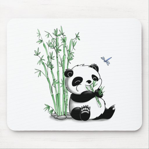 Panda Eating Bamboo Mouse Pads