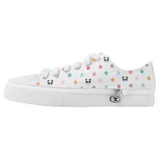 Panda faces and flower print low tops