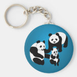 Panda Family of Three Basic Round Button Key Ring