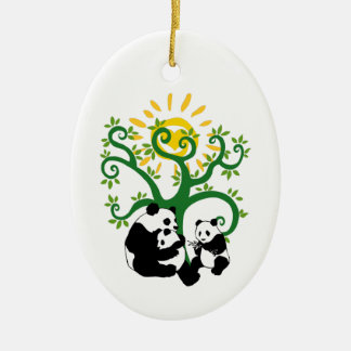 Panda Family Tree Christmas Tree Ornament