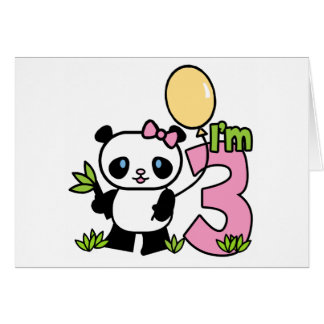 Panda Girl 3rd Birthday Invitations