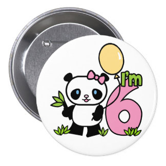 Panda Girl 6th Birthday 7.5 Cm Round Badge
