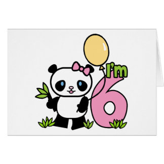 Panda Girl 6th Birthday Invitations