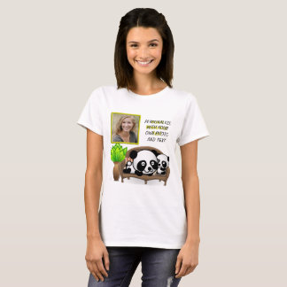 Panda, Green Plant - Insert YOUR Photo & Text - T-Shirt