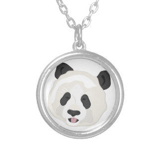 Panda Head Silver Plated Necklace