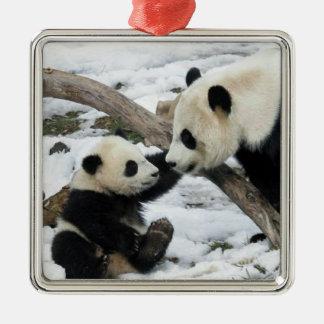 Panda High Five Metal Ornament