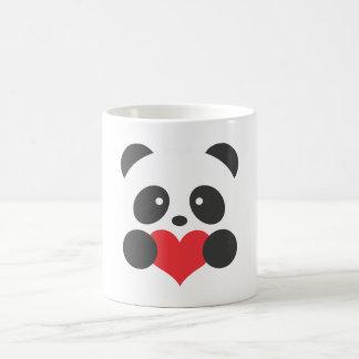 Panda holding a heart mug