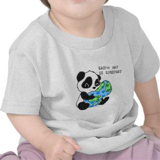 Panda hugs the earth earthday t-shirt