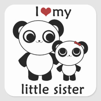 Panda - I love my little sister - sticker