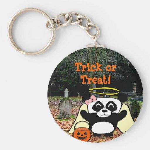Panda in Angel Costume in Scary Graveyard Keychain