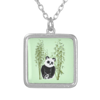 Panda In Bamboo Silver Plated Necklace