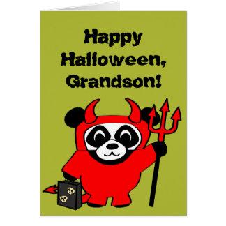 Panda in Devil Costume Trick or Treat Card