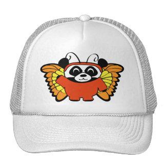 Panda in Orange Butterfly Costume Cap