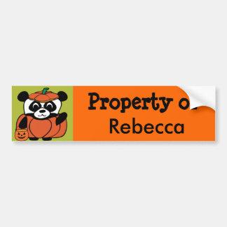 Panda in Pumpkin Costume Trick or Treat Car Bumper Sticker