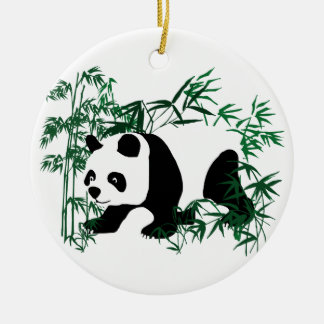 Panda in the Bamboo Forest Ceramic Ornament