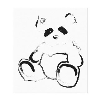 panda ink stretched canvas prints