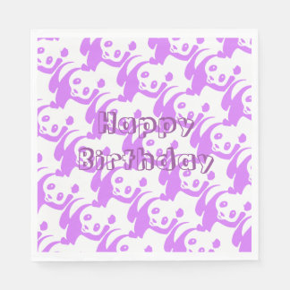 Panda Lilac Happy Birthday Paper Serviettes
