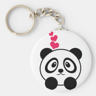 Panda Love Basic Round Button Key Ring
