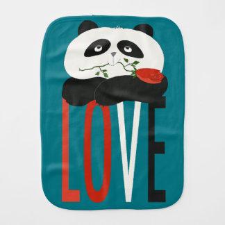 Panda Love Cartoon Cute Romantic Nostalgic Bear Burp Cloth