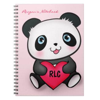 Panda Lovers Cute Notebook w/ Heart Personalised