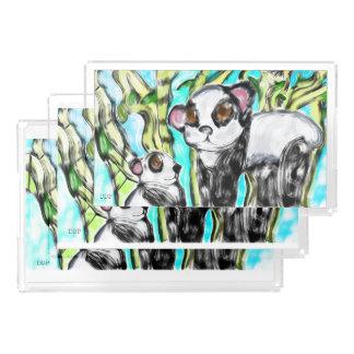 Panda mother and cub acrylic tray