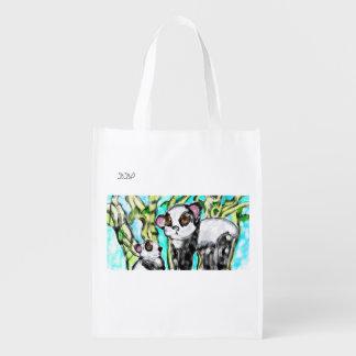 Panda mother and cub reusable grocery bag
