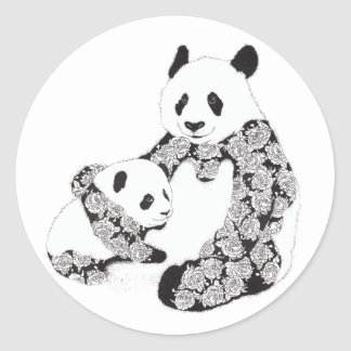 Panda Mother & Baby Cub Illustration Round Sticker