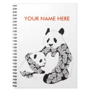 Panda Mother & Baby Cub Spiral Notebook