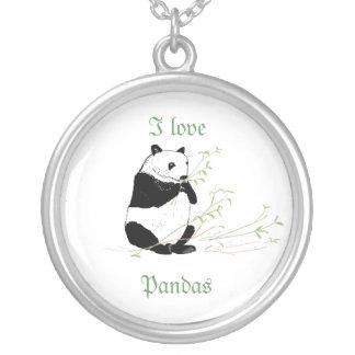 Panda necklace and I Love Pandas