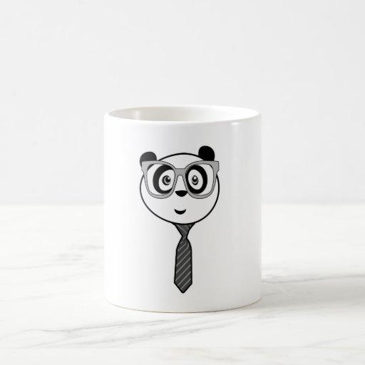 Panda Nerd = Black & White Coffee Mugs