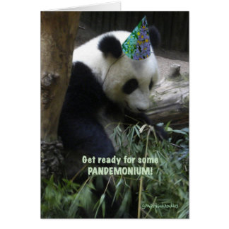 Panda pandemonium birthday party invitation! greeting card