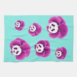 Panda Pansies Tea Towel