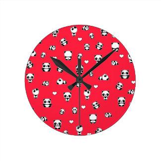 Panda pattern round clock