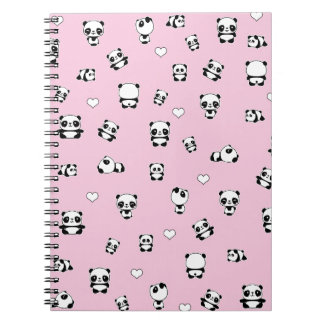 Panda pattern spiral notebook
