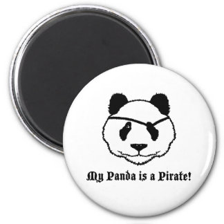 Panda Pirate 6 Cm Round Magnet