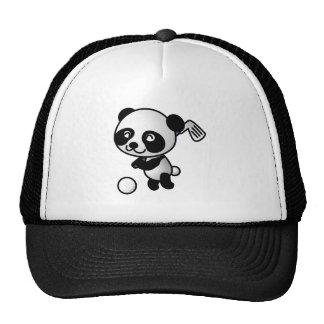 Panda playing golf trucker hats
