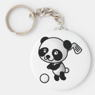 Panda playing golf key ring