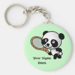 Panda Playing Tennis Customizeable Keychain