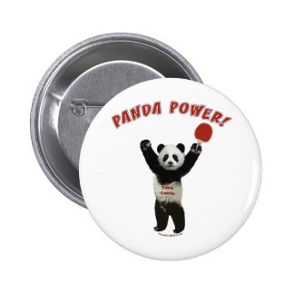 Panda Power Ping Pong Pinback Buttons