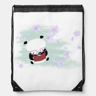Panda Reading Drawstring Backpack