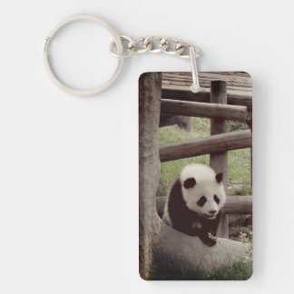 Panda  - Retro Style Photograph Key Ring