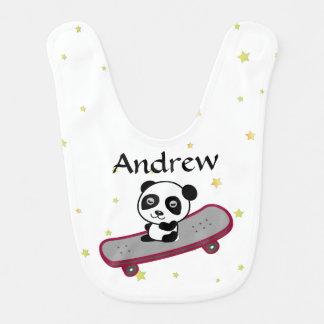 Panda riding on skateboard bib