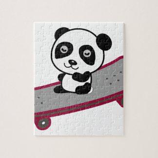 Panda riding on skateboard jigsaw puzzle