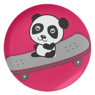 Panda riding on skateboard party plate